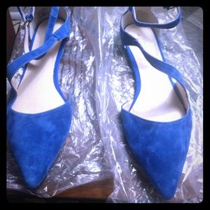 ALDO Blue Sued Pointed Toe w/ Ankle Strap Flats